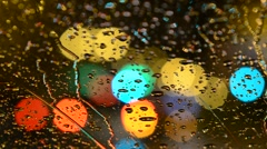 Rain On Windscreen, City Blur Background. Moving Bokeh Circles Of Night Traffic Stock Footage