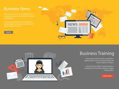 design for website of business news, training - stock illustration