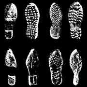 Collection  imprint soles shoes  black  silhouette. Vector illustration - stock illustration