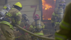 Large fire inside a burning house Stock Footage