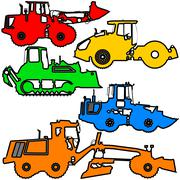 Set  color silhouettes  road construction equipment. Vector illustration. Stock Illustration