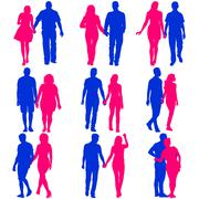 Couples man and woman silhouettes on a white background. Vector illustration - stock illustration
