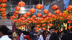 Chinese New Year festival at Leng Noei Yi temple in Bangkok's Chinatown. Stock Footage
