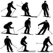 Set mountain skier  speeding down slope. Vector sport silhouette. - stock illustration
