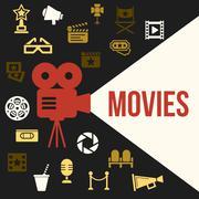 Cinema Retro Video Projector with Spotlight. - stock illustration