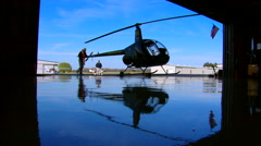 Robinson R22 Hangared Stock Footage