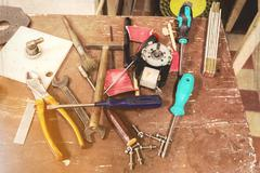 DIY workshop tools on table - stock photo