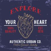 Explore Your Heart.Print for shirts. - stock illustration