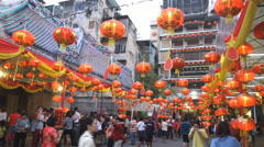 Chinese New Year festival at Leng Noei Yi temple in Bangkok's Chinatown. - stock footage