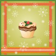 christmas card with cupcake - stock illustration