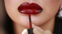 Part of attractive woman face with fashion red lips makeup Stock Footage
