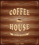 wood banner for cafe - stock illustration