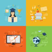 Set of content of education Stock Illustration