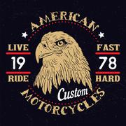 American Eagle Motorcycle Emblem. - stock illustration