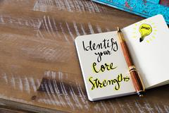 Written text IDENTIFY YOUR CORE STRENGTHS Stock Photos