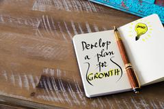 Written text DEVELOP A PLAN FOR GROWTH Stock Photos