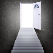 Stairway leading to door - stock illustration