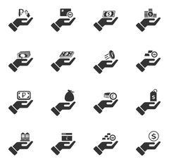 Hand and money icons set - stock illustration