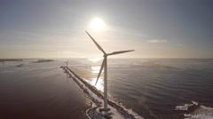 Windmill, sun backlit, 4K drone footage,Skandinavia Pori - stock footage