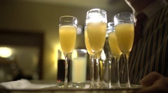 Champagne take to cheers - stock footage