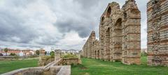 Panoramic view of aqueduct of the Miracles in Merida, Spain Stock Photos