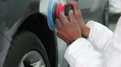Mechanic preparing a car for painting - stock footage