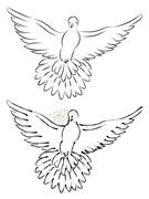 Dove Line Art - stock illustration