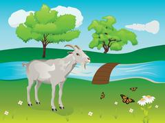 Goat and Green Lawn Stock Illustration