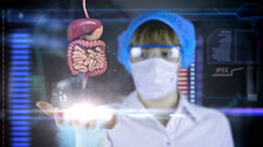 Stock Video Footage of Doctor with futuristic hud screen tablet. intestine, digestive system. HUD