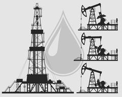 Set of oil pumps and rig silhouettes - stock illustration
