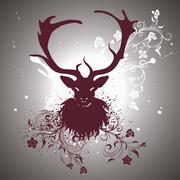 Grunge Stag with Floral - stock illustration