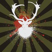 Grunge Stag - stock illustration