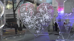 """Love Theme Ice Sculptures"" at Icefest 2016, Toronto Stock Footage"