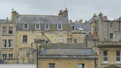 Slate rooftops of homes in Bath, Somerset, England. - stock footage