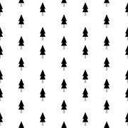 Black and white seamless pattern with cute fir trees - stock illustration