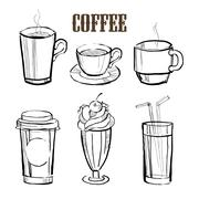 Coffee. Handdrawn Vector Set - stock illustration