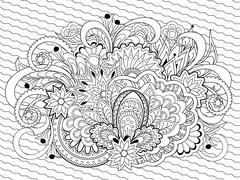 doodle flowers, herb and mandalas - stock illustration