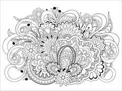 Doodle flowers, herb and mandalas Stock Illustration