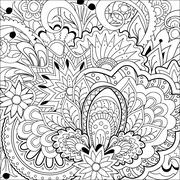 Zen doodle flowers, herb and mandalas Stock Illustration