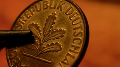 Close up of antique old coins Stock Footage