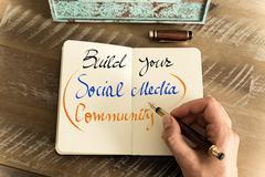Written text BUILD YOUR SOCIAL MEDIA COMMUNITY Stock Photos