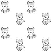 Black and white seamless pattern with a cute shiba inu puppy Stock Illustration
