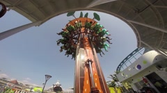 Drop Tower, Free fall in Taipei Children's Amusement Park - stock footage