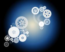 Set of mechanical gears - stock illustration