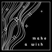 Black and white abstract background in linear style with 'Make a wish' text Stock Illustration