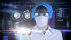 Doctor with futuristic hud screen tablet. cell division. Medical future - stock footage