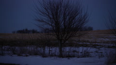 Abandoned White Farm Shed 002 Dusk Pan Left Stock Footage