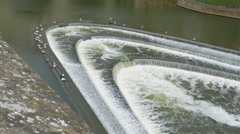 Weir in the river Avon in Bath, Somerset, England. Stock Footage