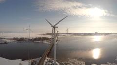 Windmill, sun backlit, 4K drone footage, Skandinavia Pori - stock footage