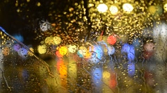 Rain On Windscreen, City Blur Background. Moving Bokeh Circles Of Night Traffic - stock footage